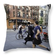 Crossing The Street In Dumbo Throw Pillow