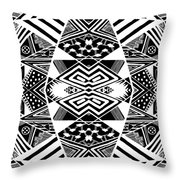 Crossroads To Ornamental - Abstract Black And White Graphic Drawing Throw Pillow