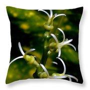 Croton Tender White Flowers Throw Pillow