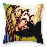 Crow And Full Moon In Winter Throw Pillow