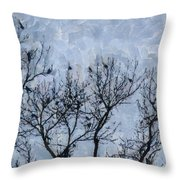 Crow Counting  Throw Pillow