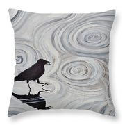Crow In A Rain Puddle Throw Pillow