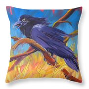 Crow In The Grass 5 Throw Pillow