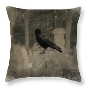 Crow In The Old Graveyard Mix Throw Pillow