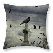 Crow Keeps Her Perch Throw Pillow