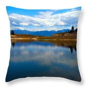 Crow Lake Montana Throw Pillow