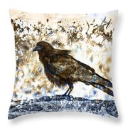 Crow On Blue Rocks Throw Pillow
