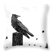 Crow On Fence Post Throw Pillow