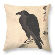 Crow Resting On Wood Trunk Throw Pillow