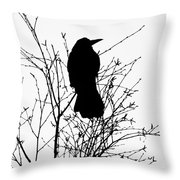 Crow Rook Perched In A Tree With Pare Branches In Winter Throw Pillow