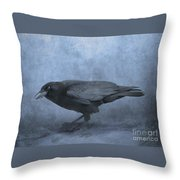 Crow Searching For Seashells Throw Pillow