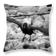 Crow Takes Off Throw Pillow