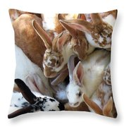 Crowd Of Rabbits Throw Pillow