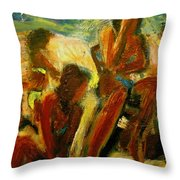 Crowded Beach Throw Pillow