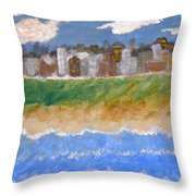 Crowded Beaches Throw Pillow
