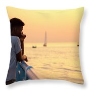 Crowded Canal Throw Pillow