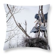 Crowded Nest Throw Pillow