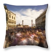Crowded On St. Mark's Square Throw Pillow