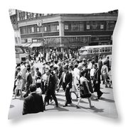 Crowded Street, Nyc, C.1960s Throw Pillow