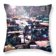 Crowded Streets Throw Pillow
