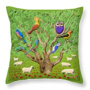 Crowded Tree Throw Pillow