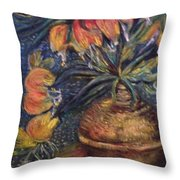 Crown Imperial Fritillaries In A Copper Vase Copy Throw Pillow