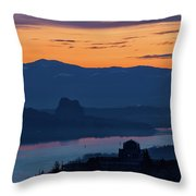 Crown Point And Beacon Rock At Dawn Throw Pillow