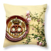 Crowned Pretzel Sign With Roses Throw Pillow