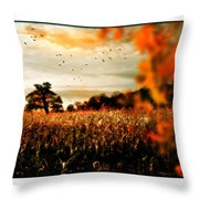 Crows And Corn Throw Pillow