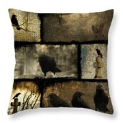 Crows And One Rabbit Throw Pillow