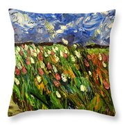 Crows Flying Over Tulips Throw Pillow