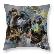 Crows In A Row Throw Pillow