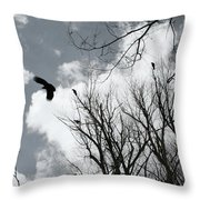 Crows In Cottonwoods Throw Pillow