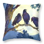 Crows In Moonlight Throw Pillow