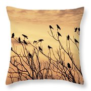 Crows In Their Twitter Cloud. Throw Pillow