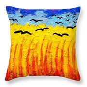 Crows Over Vincent's Field Throw Pillow