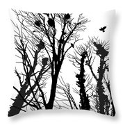 Crows Roost 1 - Black And White Throw Pillow