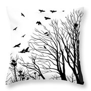 Crows Roost 2 - Black And White Throw Pillow