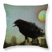 Crowzilla Throw Pillow