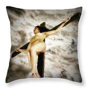 Crucified Woman In Upward View Throw Pillow