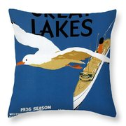 Cruise Across The Great Lakes - Canadian Pacific - Retro Travel Poster - Vintage Poster Throw Pillow
