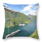 Cruise In Geiranger Fjord Norway Throw Pillow