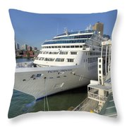 Cruise Ship At Canada Place Throw Pillow