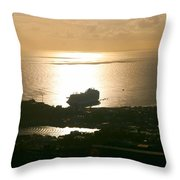 Cruise Ship At Sunset Throw Pillow