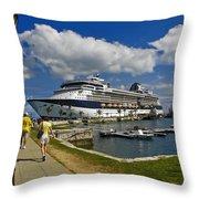 Cruise Ship In Bermuda Throw Pillow