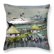 Sitting In The Dock Of The Bay, Kingstown, St Vincent  Throw Pillow