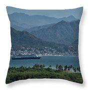 Cruise Ship Leaving Banderas Bay Puerto Vallarta Mexico With Sie Throw Pillow