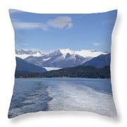 Cruise Ship Mountains Throw Pillow