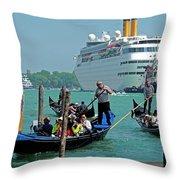 Cruise Ship Port Of Venice Throw Pillow