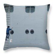 Cruise Ship Window Washer Throw Pillow